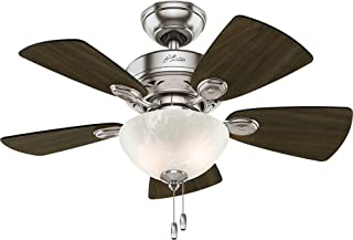 Hunter 52092 Watson Ceiling Fan with Light, 34  Small, Brushed Nickel