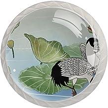 Lade handgrepen trekken ronde kristallen glazen kast knoppen keuken kast handvat,Crane Lotus Leaf