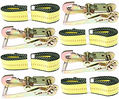 """2"""" X 10' DKG Soft Eye Strap with Snap Hook Ratchet Tie Down - Over Wheel Lasso Strap with Ratchet Car Carrier Tie Down - Side Mount Car Hauler Trailer Tire Strap with Ratchet"""