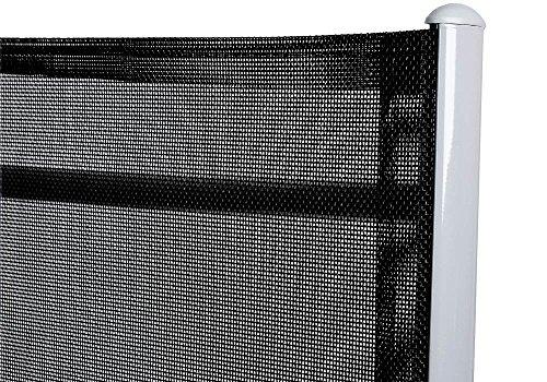 Deuba Sitzgruppe Bern 6+1 Aluminium 7-Fach verstellbare Hochlehner Stühle Tisch mit Sicherheitsglas Silber Garten Set - 8