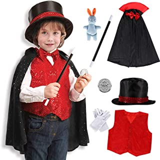 Magician Costume Kids Pretend Role Play Halloween Magician Fancy Dress Up Accessories Set Fit 3-6 Years for Boys Girls Black