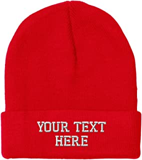 257a237c25d Personalize Your Custom Text On Unisex Adult Acrylic Beanie Skully Hat - Red