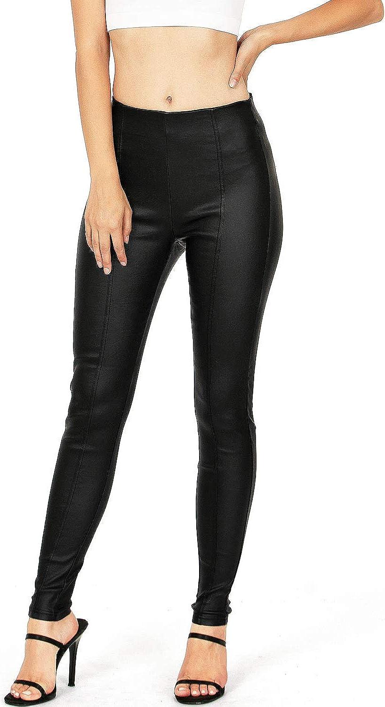 I & M Women's Juniors Faux Leather High Rise Leggings