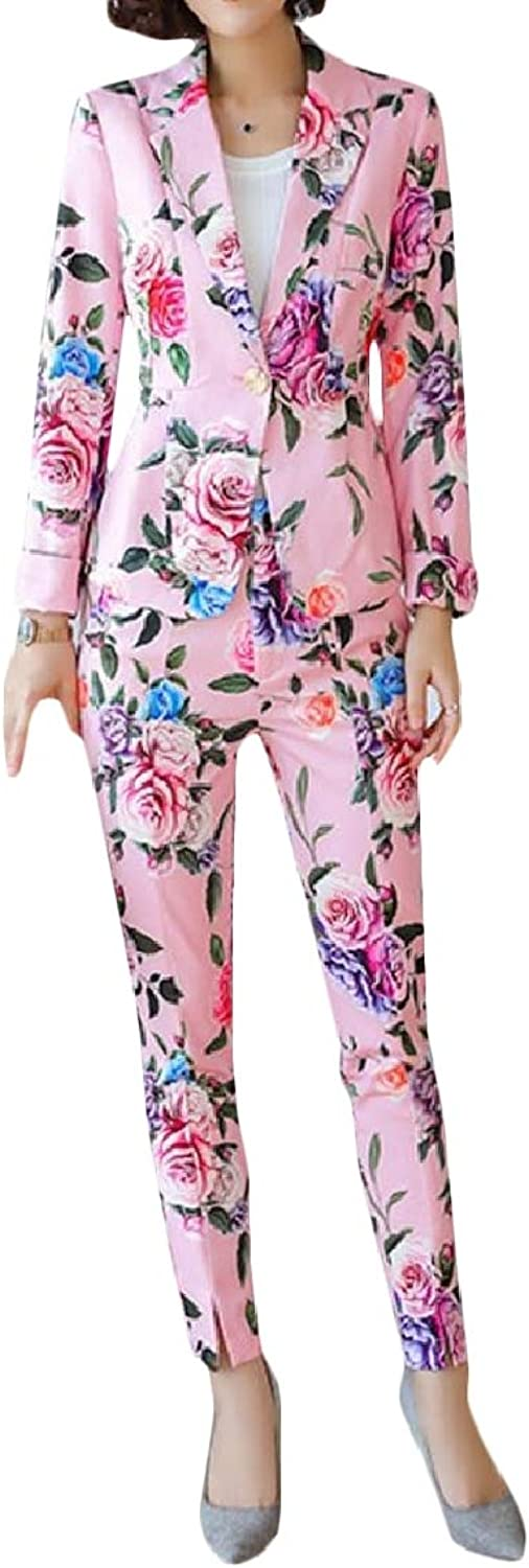 Mfasica Womens 2 Piece Set Long Sleeve Floral Printed Jacket Suit Bodycon Pants Sweatsuits