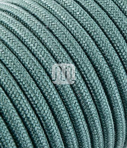 Elektrische Kabel in farbigem Stoff beschichtet. Made in Italy! 3 Meter 2x0, 75 Farbe: Roh Grün Salbei