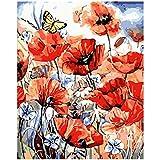 yaonuli DIY Mariposa y Flor de Amapola Arte de la Pared Pintura acrílica Pintura Digital por Goteo Pintura 40x50cm Sin Marco