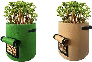 Yamcyh 10 Gallon Plant Grow Bags Pack of 2 Potato Pot Jardin Seeds Planting Bag Home Garden Fruit Seedling Fabric Plants G...