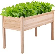 YAHEETECH Wooden Raised/Elevated Garden Bed Planter Box Kit for Vegetable/Flower/Herb Outdoor Gardening Natural Wood, 49 x...