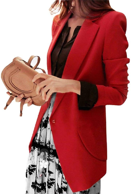 ROHEP Women Pocket Skinny Solid 1 Button OL Oversized Suit Jacket Blazer