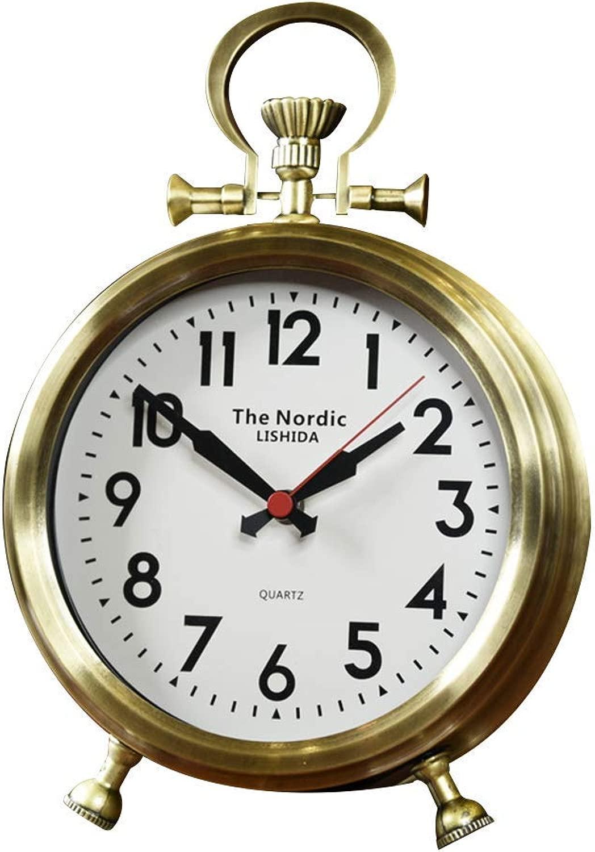 デスククロックファミリークロックミュートクロック、レトロなデスクトップ時計、装飾リビングルームのベッドルーム置時計リビングルームのベッドルームに最適オフィス(色:真鍮、サイズ:ローマ)