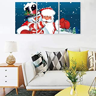 MOOBAST Christmas Day Santa Claus Modern Canvas Prints Wall Art Bedroom Art Print Painting UNFRAMED Pictures 3 Pieces White 12x16