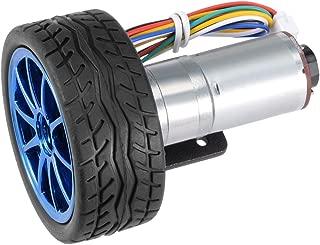 uxcell DC 24V 350RPM Encoder Gear Motor with Mounting Bracket 65mm Wheel Kit 1 Set for Smart Car Robot DIY