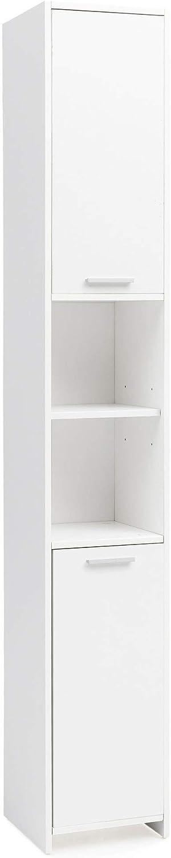 FineBuy Badschrank FB51822 Modern Holz 30,5 x 190 x 30 cm Wei  Badezimmerschrank mit 2 Türen  Beistellschrank Mehrzweckschrank  Hochschrank schmal  Badezimmer Standregal Hoch