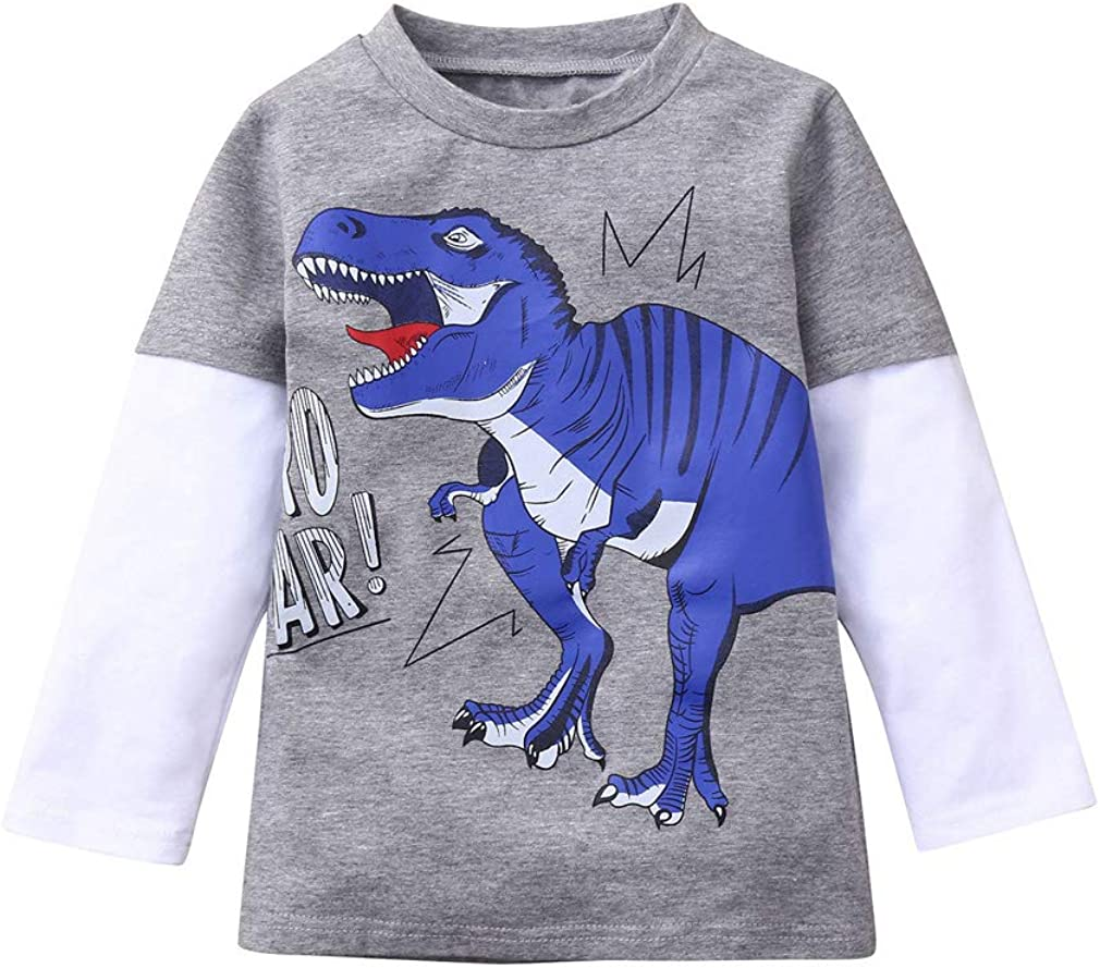 Kids Toddler Baby Boys Dinosaur T-Shirt Long Sleeve Patchwork Pullover Tee Tops