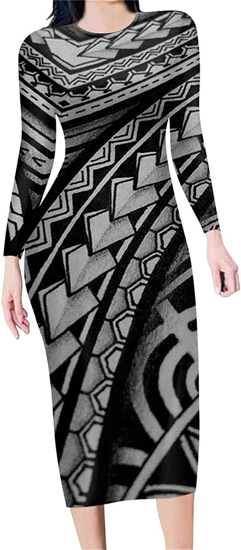 Ipanderly shipfree Autumn Long Sleeve Pencil Tribal discount Prin Samoa Dress Poly
