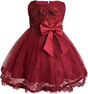XFentech Christening Dress - Infant Girls Multi-Color Optional Tulle Formal Occasions Tutu Dress,Red,18M(13-18 Months)