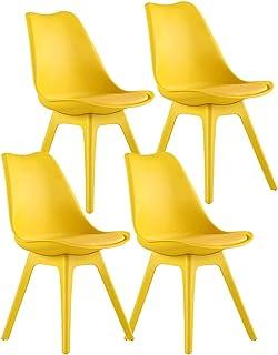 ZCXBHD Conjunto de 4 Tulipán Moderno Sillas Comedor PP Completo plástico con Asiento Acolchado Sillas Cocina Sillones Retro for Comedor Sala Estar Recepción Sillas Oficina (Color : Yellow)