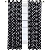 Royal Hotel Meridian Black and Gray Grommet Room Darkening Window Curtain Panels, Pair/Set of 2 Panels, 52x96 inches Each