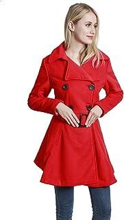 معطف صوف للنساء من KENGURU COVE جاكيت كاجوال مزدوج الصدر مع أحزمة