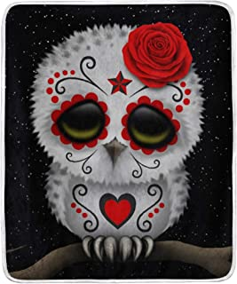 VIMMUCIR Throw Blanket, Sugar Skull Owl Rose, Soft Warm Cozy Bed Couch Sofa Blankets for Kids Adults