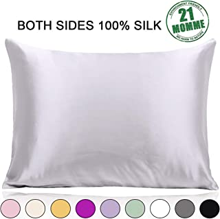 100% Pure Mulberry Silk Pillowcase Standard Size 21 Momme 600 Thread Count for Hair and Skin With Hidden Zipper, Hypoallergenic Soft Breathable Both Sides Silk Pillow Case, 20×26inch, Silver Grey