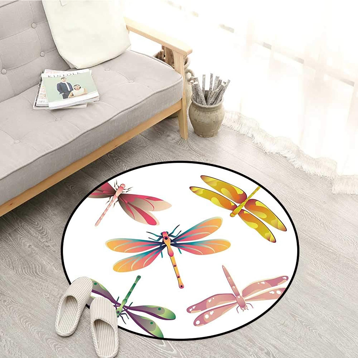 Dragonfly Living Room Round Rugs Five Spiritual Bugs in Modern Abstract Patterned Beauty Elegance Artsy Motif Sofa Coffee Table Mat 4'11  Multicolor