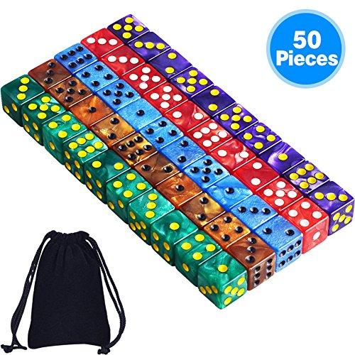 AUSTOR 50 Piezas 6 - Sided Dice Set, 5 x 10 Colores Perla