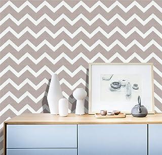 "HaokHome 633141 Peel and Stick Vinyl Trellic Wallpaper Rolls White/Grey Living room Wall Paper Murals Home 17.7""x 19.7ft P..."
