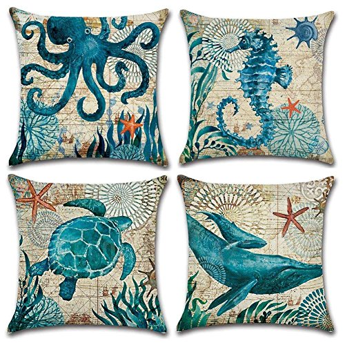 Freeas Ocean Park Cotton Linen Theme Decorative Throw Pillow Cover Case 18' x 18' Sea Decor Pillowcase with Ocean-Beach-Sea-Conch-Whale-Seahorse Pattern, Beige