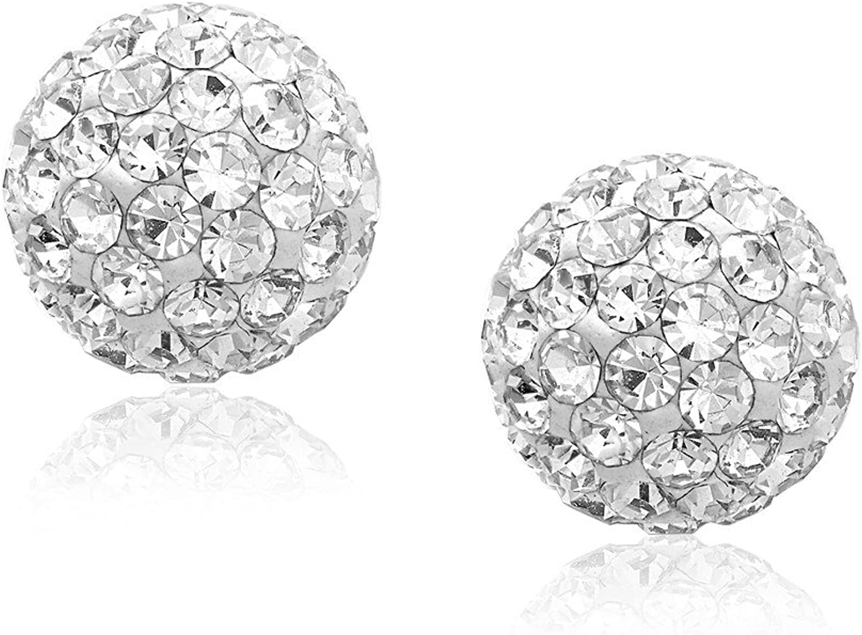 14k Yellow Gold Stud White Crystal Ball Earrings