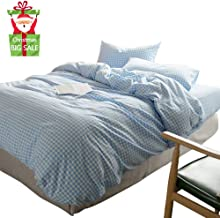 XUKEJU 3 Pieces Grid Duvet Cover Set 100% Natural Washed Cotton King Size 2 Pillowcases Luxurious Durable Soft Breathable Hypoallergenic Light Blue Gingham Plaid Checkered Pattern
