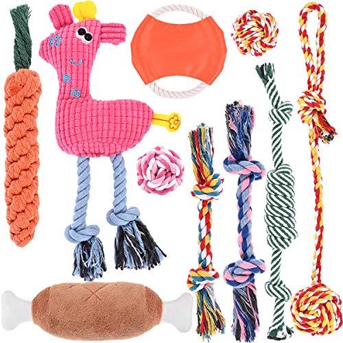 Nabance Welpenspielzeug 10 STK Hundespielzeug Naturbaumwolle Langlebiges Kauspielzeug für Zahnreinigung Welpe Hundespielzeug Interaktives Hundeball HundSpielzeug Seil für Welpen kleine Mittlere Hunde