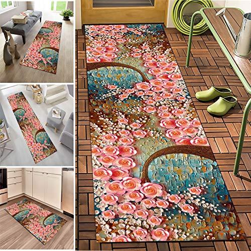 MH-24 Corridor Entrance Stair Non-Slip Strip Carpet Rosette Carpet For Corridor 0.7CM Thick,Crystal Velvet Fabric,Long Washable Carpet,Length Can Be Customized(Size:1×4m)