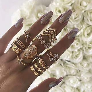 Simsly - Set di anelli con fiore e strass, stile vintage, per donne e ragazze (13 pezzi)
