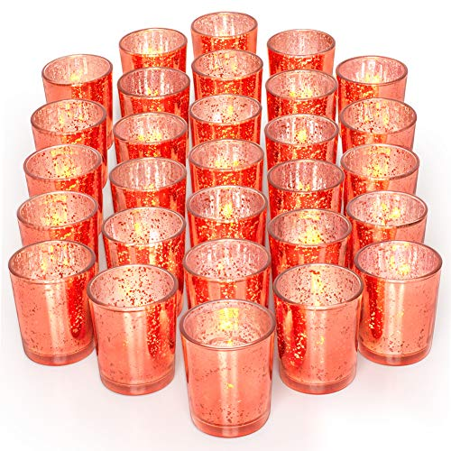 LETINE 36pcs Votive Candle Holders for Party Decorations - Mercury Glass Coral Tealight Candle Holder for Wedding/Birthday/Bridal/Baby Shower Centerpieces