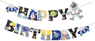 لافتة عيد ميلاد سعيد لامعة الكون الفضاء الخارجي لتزيين حفلات صاروخ سفينة فضاء من سومر سبيس