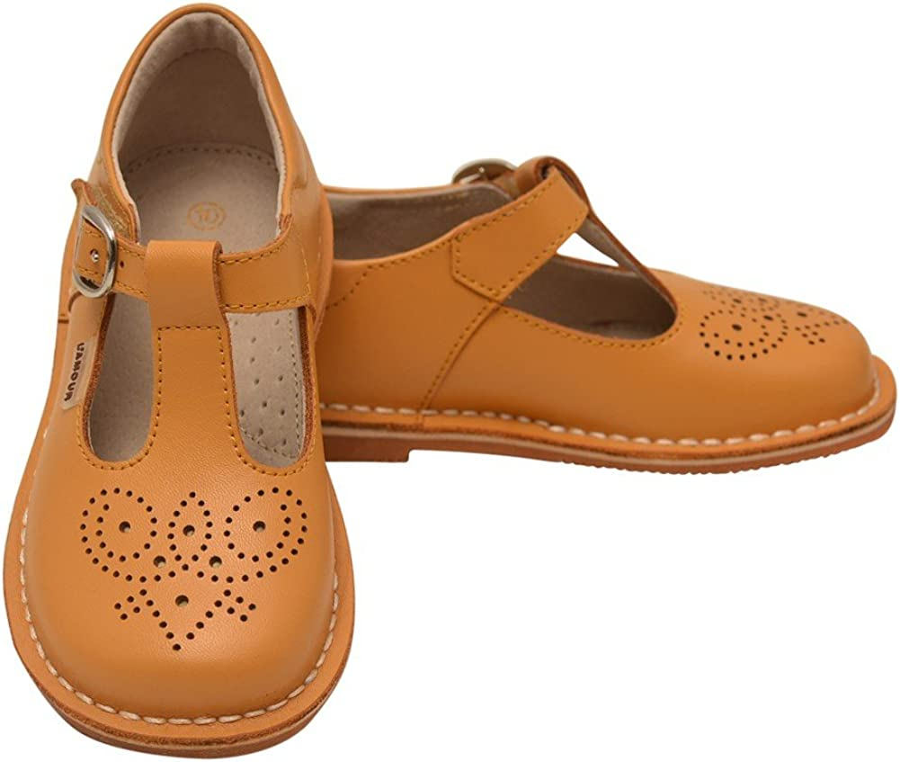 L'Amour Little Girls Mustard T-Strap Perforated Leather Shoes 10 Toddler