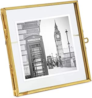 Isaac Jacobs 4x4, Antique Gold, Vintage Style Brass and Glass, Metal Floating Desk Photo Frame, with Locket Closure for Pictures, Art, More