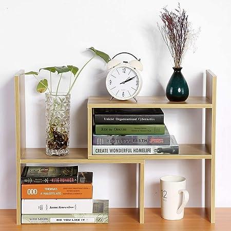 Ganga Desktop Storage Rack Organizer Book Display Shelf - Perfect for Office/Home Decor (Engineering Wood, Beach Color) (ST-3)