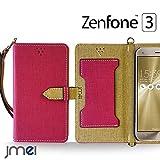 Zenfone3 ZE520KL ケース JMEIオリジナルカルネケース VESTA ホットピンク ASUS ゼンフォン 3 エイスース simフリー スマホ カバー スマホケース 手帳型 ショルダー スリム スマートフォン