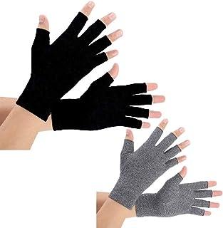 Artritis Handschoenen 2 Paar, Compressie Handschoenen Ondersteuning en Warmte voor Handen, Vinger Gewricht, Pijn Verlichten van Reumatoïde Artritis, Artrose (Donkergrijs+Zwart, L)