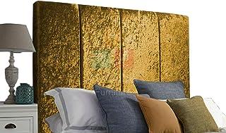 H-Cube meble Alton wyściełane łóżko Divan zagłówek zgnieciony aksamit 100 cm seria montowana na ścianie (złoty - 4FT6 podw...
