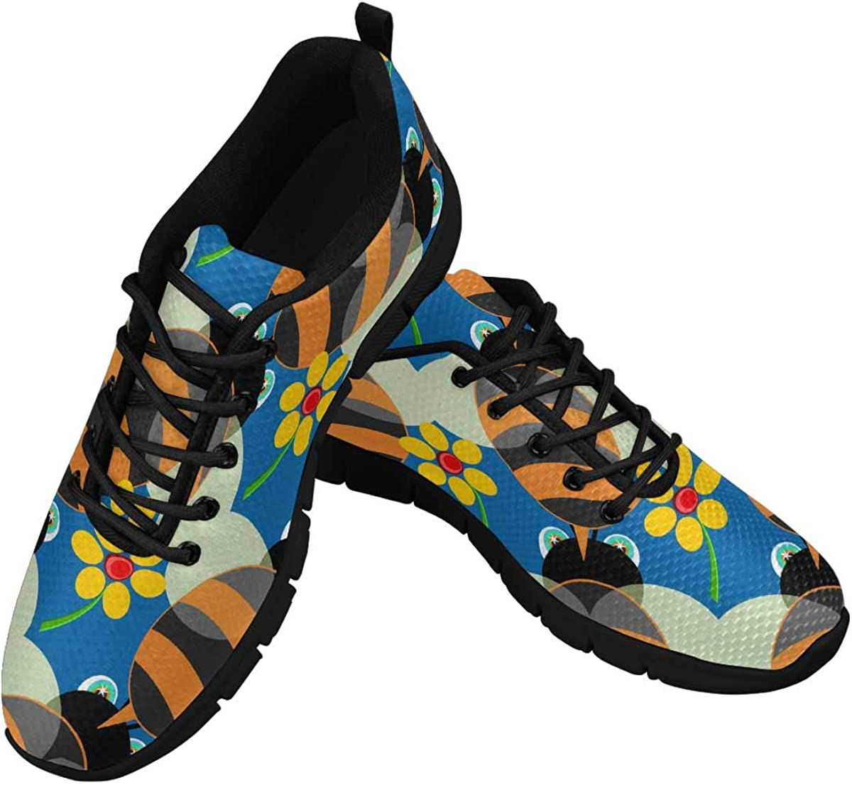 INTERESTPRINT Bees in Blue Women's Athletic Walking Shoes Comfort Mesh Non Slip