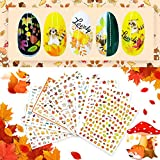 10 Sheets of 3D Self-Adhesive Nail Art Stickers Decals Maple Leaves Pumpkin Squirrel,DIY Thanksgiving Party Nail Decoration ( Autumn )