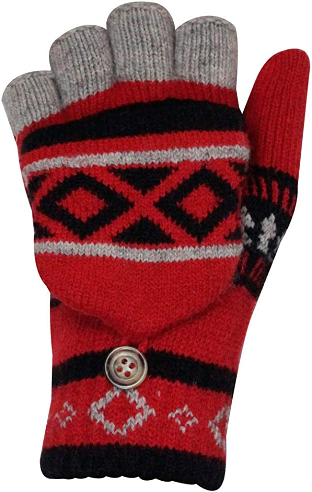 Winter Half Thumb Open Fingers Convertible Mittens Gloves Knit Elastic Cuff Texting Typing Thermal Warm for Women Men