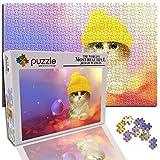 Mujer Puzzle 1000 Piezas Jigsaw Puzzles para Adultos Kids Infantiles Adolescentes Hombre Regalos para Navidad (15 X 10.2 Pulgada) Animal Lindo Gato