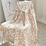 Adorila Leopard Throw Blanket for Couch Bed Sofa Chair, Super Soft Cozy Blanket, Brown Cheetah