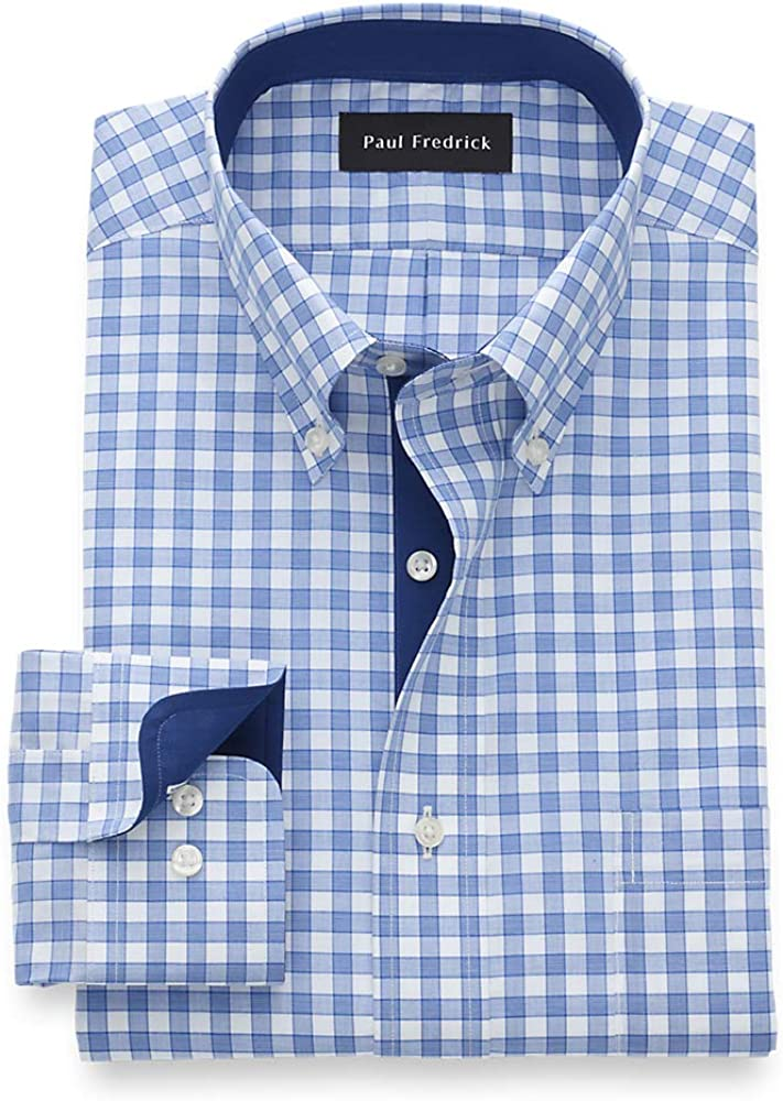 Paul Fredrick Men's Tailored Fit Non-Iron Cotton Check Button Down Dress Shirt