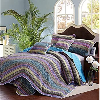 Striped Jacquard Style 3-Piece Patchwork Bedspread/Quilt Sets 100% Cotton (King)