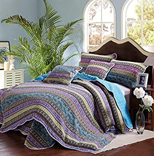 Striped Jacquard Style 3-Piece Patchwork Bedspread/Quilt Sets 100% Cotton (King)